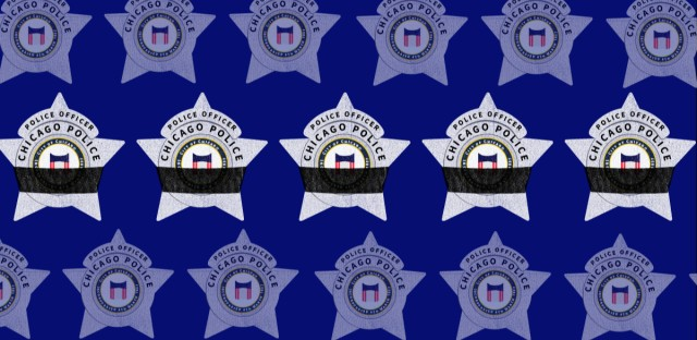An illustration of Chicago police badges. The middle row of badges are wrapped in black bands, which signify mourning