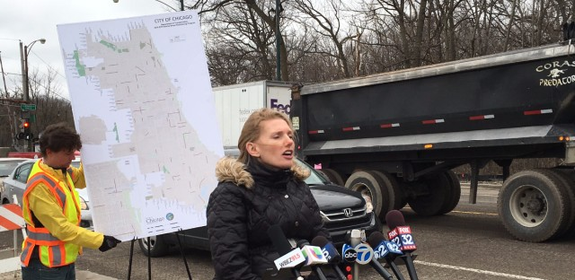 Chicago Department of Transportation Commissioner Rebekah Scheinfeld outlines the city's plans to repave roads beginning with 55 projects throughout Chicago.