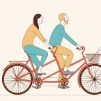 Aging together on a bike illustration