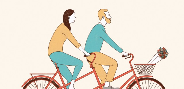 Aging together on a bike illustration