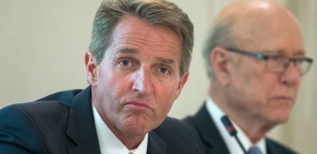 Trump has criticized Sen. Jeff Flake, R-Ariz., while praising one of his primary challengers.
