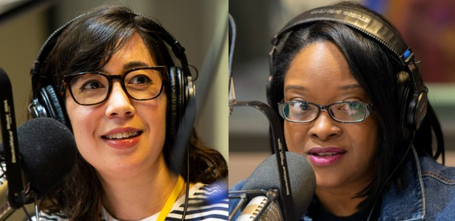 Chicago freelance journalist Kim Bellware (left) and WVON commentator and attorney Kimberly Egonmwan (right) offered their thoughts during the Morning Shift's Friday News Roundup.