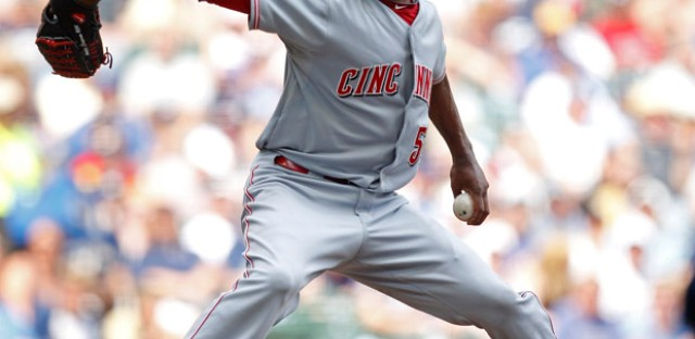 Cincinnati Reds reliever Aroldis Chapman throws against the Milwaukee Brewers in 2011.