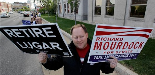 Brent Gentry shows his support for Richard Mourdock before a U.S. Senate debate in April. Mourdock is running against Sen. Richard Lugar, R-Ind.