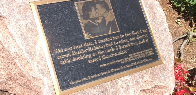 Plaque commemorating their first kiss, 1400 E 53rd