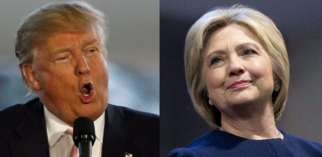 Republican presidential candidate Donald Trump at a rally in Ohio in March and Democratic presidential candidate Hillary Clinton at a rally in Illinois in February.