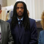 Defendant Kenneth Williams, center, is flanked by attorneys Matt McQuaid, and Julie Koehler, during opening arguments in the Hadiya Pendleton murder trial at the Leighton Criminal Court Building in Chicago on Aug. 14, 2018. A guilty verdict has been returned against Williams, one of two men charged in the 2013 death of a 15-year-old Chicago high school honor student who became a symbol of Chicago gun violence. A Cook County jury found Williams guilty of first-degree murder in the death of Pendleton.