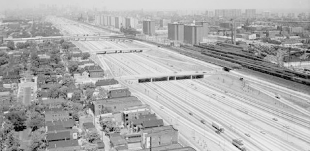 Aerial shot of the newly constructed Dan Ryan Expressway, 1960s, from Chicago Transit Authority. Pretty swanky, huh? When the first section opened in 1961, the Dan Ryan was the widest and busiest highway in the world.
