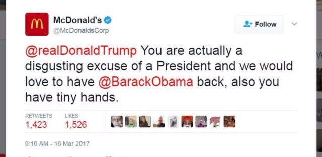 A tweet from McDonald's corporate account attacked President Trump Thursday; it was deleted within 30 minutes.