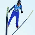 Kevin Bickner (4) competes during the men's ski jumping event at the U.S. Olympic Team Trials, Sunday, Dec. 31, 2017, in Park City, Utah.