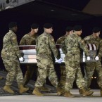 A U.S. Army team transfers the remains of Staff Sgt. Dustin Wright, 29, of Lyons, Ga., at Dover Air Force Base, Del., on Oct. 5. Wright was one of four U.S. troops killed in an ambush in Niger. U.S. forces work with many African militaries. While the Americans are advising and assisting in most cases, they also travel into the field where they can face combat.