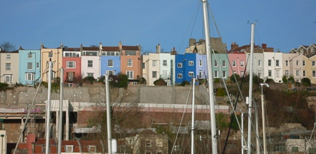 Brightly painted houses at Clifton Wood photographed from Bristol Harbour