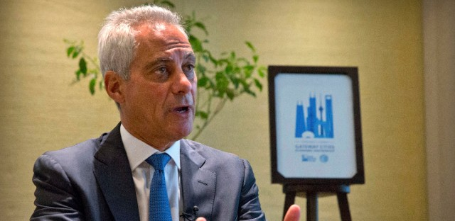 Chicago Mayor Rahm Emanuel speaks during an interview with the Associated Press in Beijing, Thursday, July 12, 2018. Emanuel, on a mission to salvage business deals threatened by a tariff war, says Chinese officials expressed confidence during his visit to Beijing that they can survive the spiraling dispute with Washington.