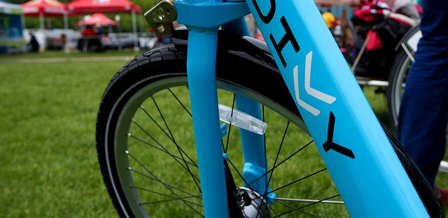 One of Divvy's powder blue bikes. The launch of Chicago's new bike share program is being delayed.