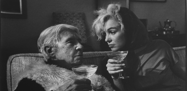 Carl Sandburg and Marilyn Monroe sip champagne at the home of a Hollywood producer in January 1962. This is one of seven photos up for auction Saturday to benefit the financially struggling Abraham Lincoln Presidential Library Foundation in Springfield.