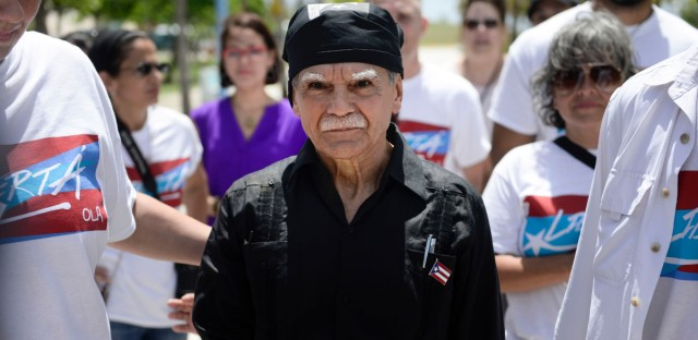 Puerto Rican nationalist Oscar Lopez Rivera arrives to give a press conference on El Escambron Beach following his release from house arrest after decades in custody, in San Juan, Puerto Rico, Wednesday, May 17, 2017. Lopez was considered a top leader of the Armed Forces of National Liberation, or FALN, an ultranationalist Puerto Rican group that claimed responsibility for more than 100 bombings at government buildings, department stores, banks and restaurants in New York, Chicago, Washington and Puerto Rico during the 1970s and early 1980s.