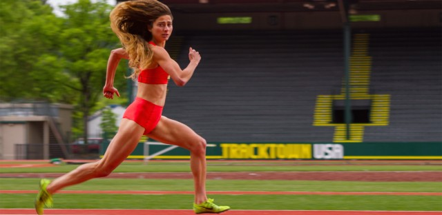Alexi Pappas plays a young runner named Plumb Marigold in her film <em>Tracktown</em>. Pappas will compete for Greece at this summer's Olympics.