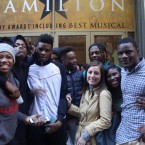 "English teacher Elizabeth Muller and her students at Al Raby High School in Garfield Park get ready to see ""Hamilton"" at the Privatebank Theater as part of the ""Hamilton"" Education Program."
