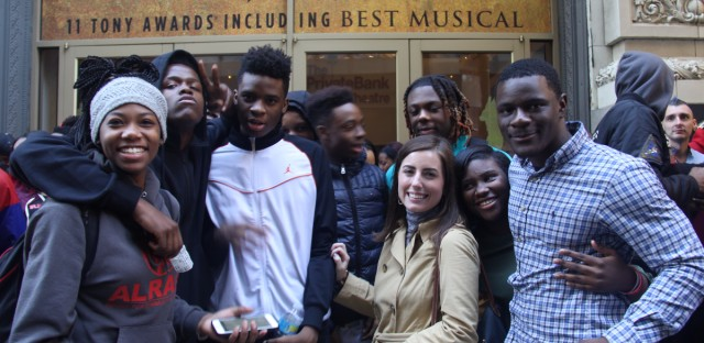 """English teacher Elizabeth Muller and her students at Al Raby High School in Garfield Park get ready to see """"Hamilton"""" at the Privatebank Theater as part of the """"Hamilton"""" Education Program."""