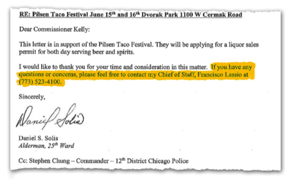 A letter of support for the Pilsen Taco Festival reads: 'If you have any quesitons or concerns, please feel free to contact my Chief of Staff, Francisco Lassio'