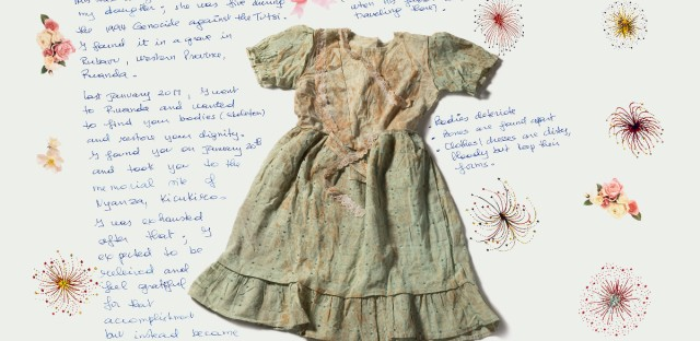 Immaculeee Mukantaganira retrieved the dress in 2017 from a mass grave in Rwanda. Only clothes remained of her daughter, Clarisse, who was killed at age five in the Rwandan genocide, 1994.