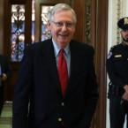 Senate Majority Leader Mitch McConnell said Friday that Republicans had the votes to pass a sweeping overhaul of the country's tax code. The measure passed early Saturday morning. (Alex Wong/Getty Images)