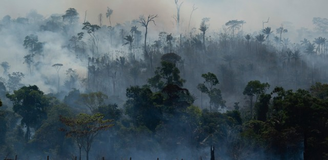 Fire consumes the Amazon rainforest in Altamira, Brazil, Tuesday, Aug. 27, 2019. Fires across the Brazilian Amazon have sparked an international outcry for preservation of the world's largest rainforest.