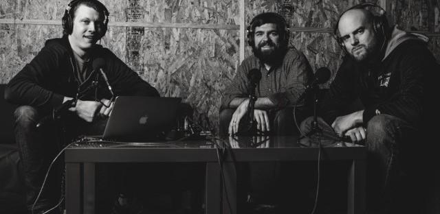 Matt Carter, Toby Morrell, and Joey Svendsen recording the Bad Christian podcast.