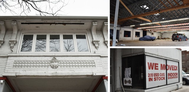 An triptych showing the outside facade, interior garage and a sign that says 'We Moved'.