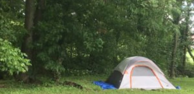 A tent used by a homeless person on the outskirts of Lexington, KY.