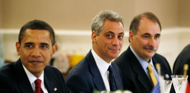 White House Chief of Staff Rahm Emanuel, center, is seated between President Barack Obama, left, and senior adviser David Axelrod as the U.S. delegation meets with Turkey's President Abdullah Gul and his delegation in Ankara, Turkey, Monday, April 6, 2009.