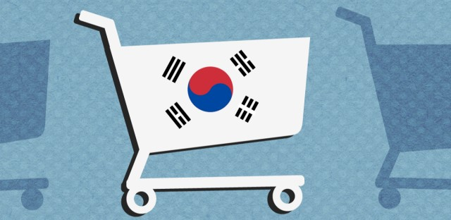 A shopping cart with the Korean flag on it on a light blue background