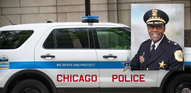 A Chicago police car inset with a portrait of Kenneth Johnson