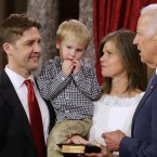 Sen. Ben Sasse (left) is sworn in by Vice President Joe Biden in 2015, with Sasse's wife Melissa and his son and daughter.