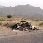 This photo taken by a freelance photographer Abdul Salam Khan using his smart phone on Sunday, May 22, 2016, purports to show the destroyed vehicle in which Mullah Mohammad Akhtar Mansour was traveling in the Ahmad Wal area in Baluchistan province of Pakistan, near Afghanistan's border. A senior commander of the Afghan Taliban confirmed on Sunday that the extremist group's leader, Mullah Mohammad Akhtar Mansour, has been killed in a U.S. drone strike.