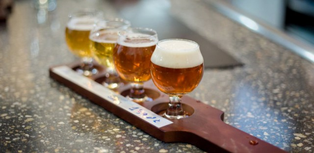 A beer flight from New District Brewing Co.