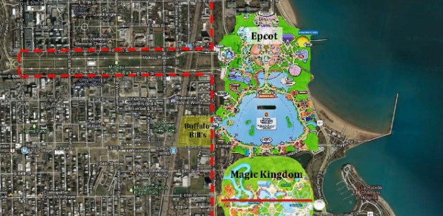This mashup map shows how current attractions such as Disney's Magic Kingdom and Epcot would fit neatly within the massive fairgrounds.