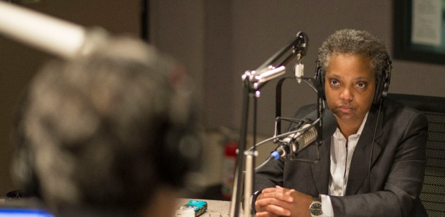 FILE - Chicago Police Board President Lori Lightfoot speaks on WBEZ's Morning Shift.