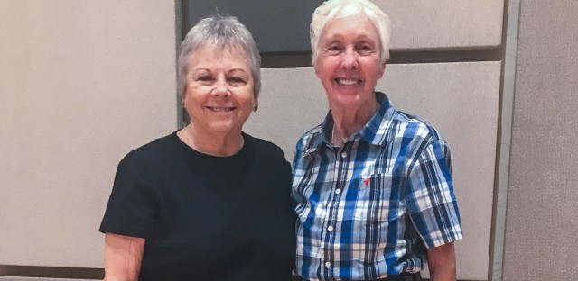 Mary Holsenbeck (left) and Wally Funk at StoryCorps in Dallas. The two friends talk every day at 10 p.m. and often take to the skies together.