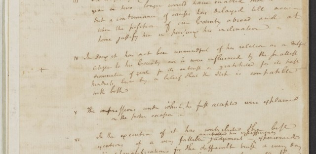 Hamilton's notes for a draft of George Washington's farewell address, 1796.