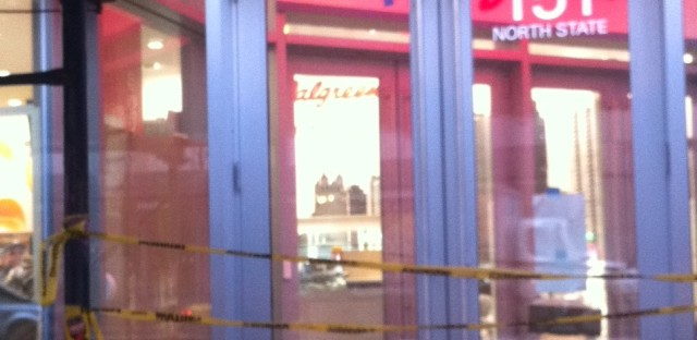 Super-Walgreens, under construction, on State and Randolph last week.