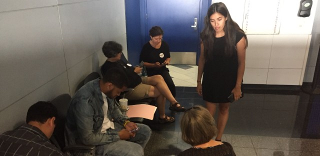 Supporters gathered at O'Hare Airport Thursday and made signs calling for the release of three American citizen girls who were detained by customs and border protection officials for more than 12 hours.