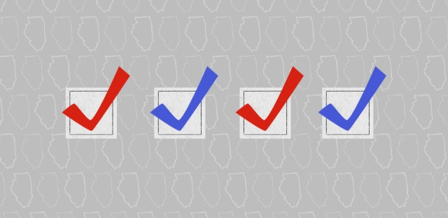 A an illustration of four check marks, alternating red and blue