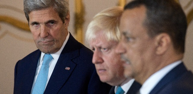 Making a joint statement on Yemen, with left - right, US Secretary of State John Kerry, British Foreign Secretary Boris Johnson and UN Special Envoy for Yemen Ismail Ould Cheikh Ahmed, at Lancaster House in London Sunday Oct. 16, 2016. The United States and Britain expressed hope on Sunday that a cease-fire can be reached in Yemen in the coming days, as a flurry of diplomacy focused on the impoverished, war-torn country.