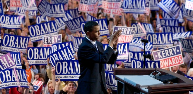 Keynote speaker Barack Obama, candidate for the Senate from Illinois, speaks to delegates during the Democratic National Convention at the FleetCenter in Boston, Tuesday, July 27, 2004.