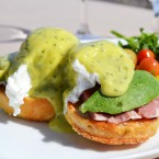 Green eggs and ham is a dish at once familiar to many and yet mysterious — no one can say for sure what this meal would translate to as real, edible food. Mar'sel, a Los Angeles county restaurant inside the ocean-side resort Terranea, crafted a green eggs and ham Benedict with prosciutto and Californian touches like salsa verde hollandaise and avocado.