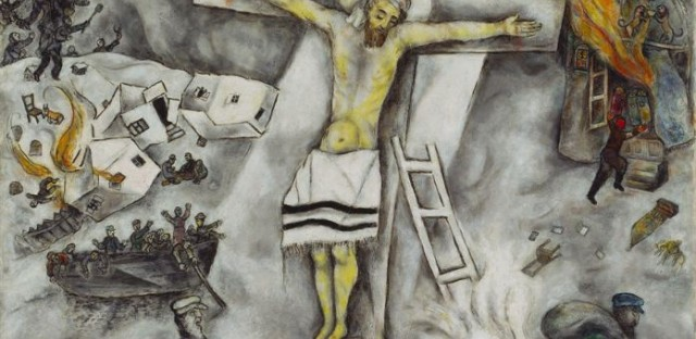 Marc Chagall's 1938 painting 'White Crucifixion' depicts a Jesus on the cross alongside other scenes of brutality against the Jews.