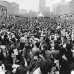 An estimated 7,000 persons jam a quadrangle at the Independence Mall in Philadelphia, during Earth Week activities celebrating the first Earth Day on April 22, 1970.
