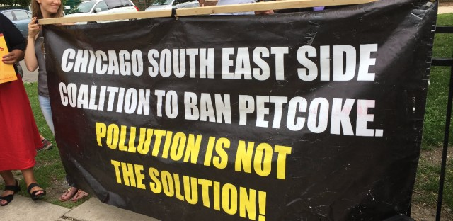 Members of the Chicago South East Side Coalition to Ban Petcoke hold a press conference on Thursday. The group is calling on the city to ban petcoke.