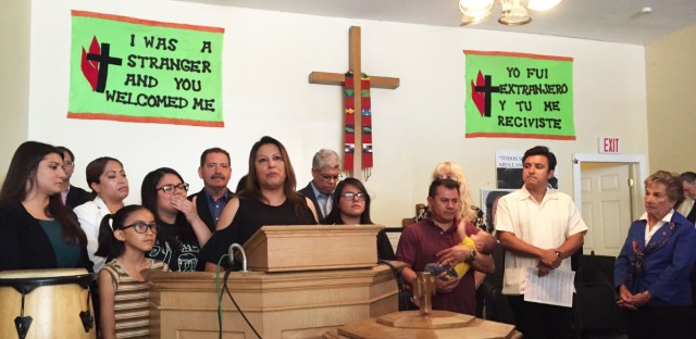 Francisca Lino speaks during a press conference inside the Adalberto United Methodist Church, where she's been living for two years to avoid deportation.
